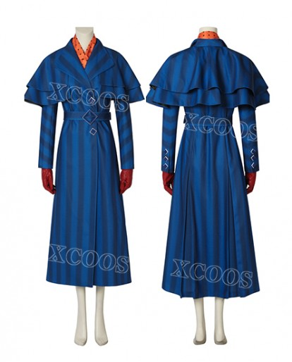 2018 Mary Poppins blue outfit Dress Cosplay Costume Mary Poppins Returns Halloween Costume