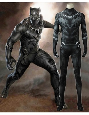 Captain America 3 Civil War Black Panther T'Challa Printed Cosplay Costume