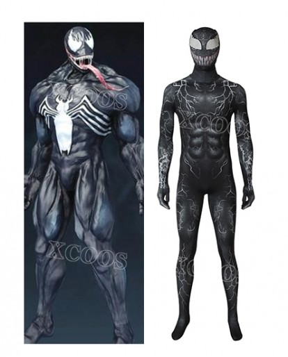 New Venom Eddie Brock Adult Halloween Cosplay Bodysuit Venom Movie Costume