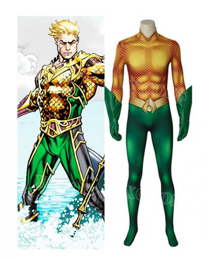 Aquaman Arthur Curry Cosplay Costume Jumpsuit Adult Superhero Halloween Outfit
