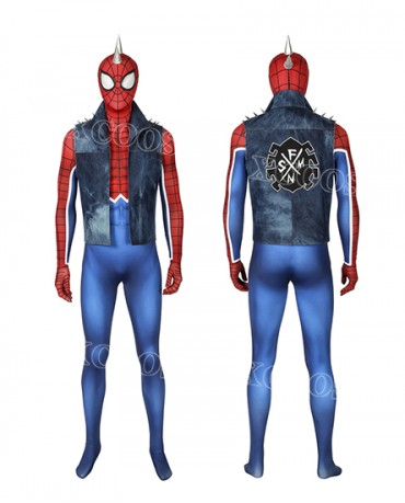 Spider-Man PS4 Spider-Punk Suit Hobie Brown Cosplay Costume for Adult Kids