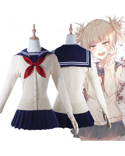 My Hero Academia Toga Himiko Cosplay Costume Dress JK Uniform Sweater