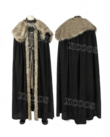 GoT 8 Game of Thrones Season 8 Jon Snow Cosplay Costume With Cloak Outfit