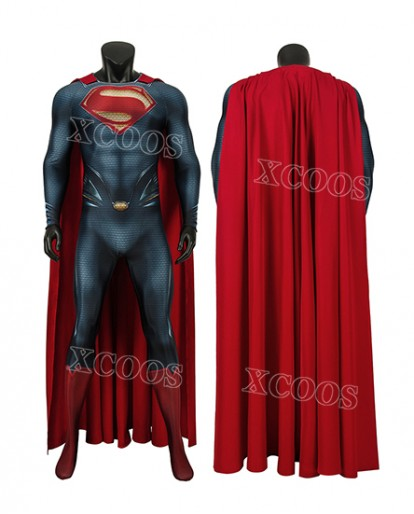 High Quality Superman Man of Steel Superman Cosplay Costume Clark Kent Zentai Suit Cloak