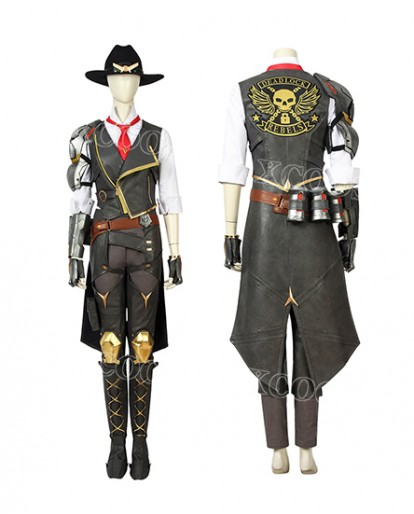 Overwatch OW Ashe Damage Hero Cosplay Costume Women Whole Set Suit Hat