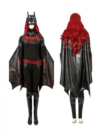 DC Comics Batwoman Kate Kane Cosplay Costume Women Jumpsuit With Cloak Mask Wig