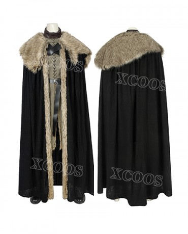 Newest Game of Thrones Season 8 Jon Snow Cosplay Costume With Cloak Outfit Fur Coat