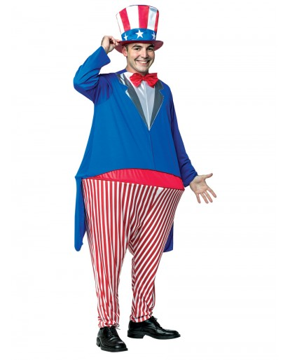 Funny Uncle Sam Fat Guy Cosplay Costume
