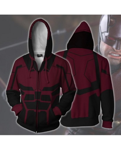 Cosplay Movie Daredevil Matt Murdock Costume 3D Printing zipper Sweatshirts Hooded sweater fashion Men and women Anime jacket