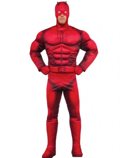 Daredevil Cosplay Costume Red Jumpsuit Missing Mask Gloves Belt Adult Deluxe