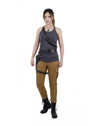 Women's Lara Croft Cosplay Costume Top Pants with Belts Set