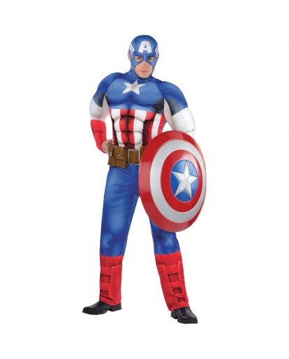 The Avengers Captain America Muscle Cosplay Costume Jumpsuit
