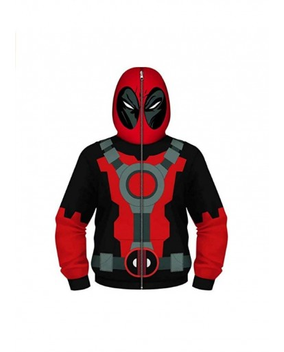 Deadpool Cosplay Costume Boys Youth Teen Full-Zip Up Hoodies Costume Cosplay 3D Jackets Pullover