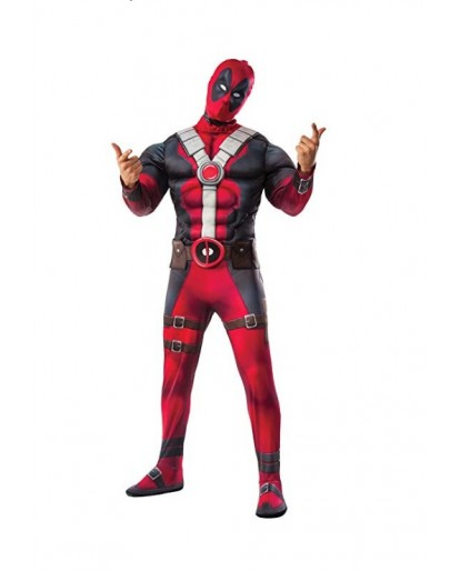 Deadpool Cosplay Costume Deluxe Muscle Chest Costume and Mask