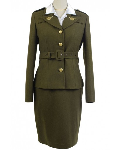 Captain America Peggy Carter Cosplay Costume Dress
