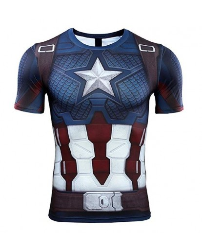 Captain America 3D Print T-Shirt Costume