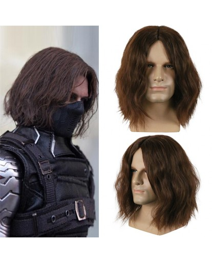 Captain America Civil War Winter Soldier Bucky Barnes Cosplay Wig