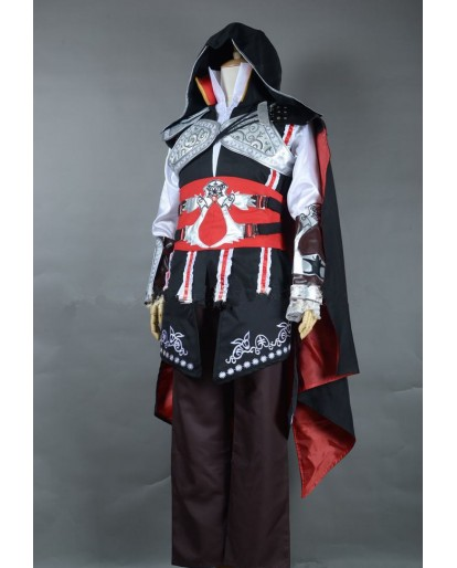 Assassin's Creed II Ezio Auditore da Firenze Black Edition Cosplay Costume