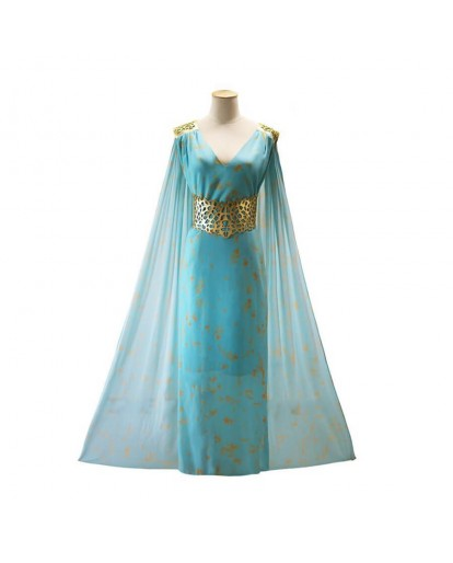 Game Of Thrones Mother of Dragon Daenerys Targaryen Blue Dress Cosplay Costume
