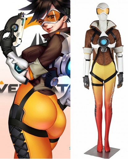 Overwatch Tracer Lena Oxton Cosplay Costume Yellow