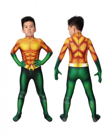 Aquaman Arthur Curry Kids Cosplay Costume Jumpsuit