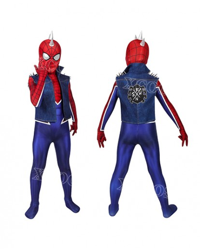 Spider Man PS4 Spider-Punk Suit Kids Cosplay Costume Jumpsuit