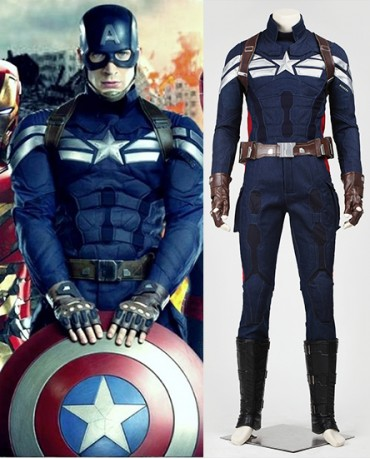 Wearing Captain America The Winter Soldier Cosplay costume like Steve  Rogers from Marvel to be the Leading role in Superhero party. a322922fdae4