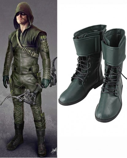 Green Arrow season 4 Oliver Queen Green Cosplay Boots