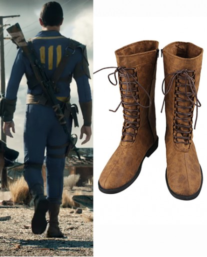 Fallout 4 Sole Survivor Nate Nora Khaki Cosplay Boots Lace up shoes