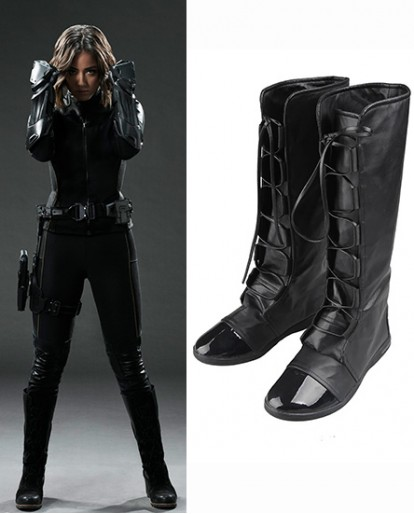 Skye Quake Agents of S.H.I.E.L.D. Black Shoes Cosplay Boots