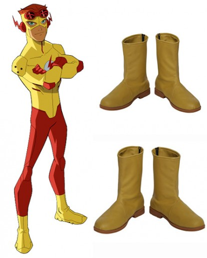 Young Justice Kid Flash Yellow Shoes Cosplay Boots