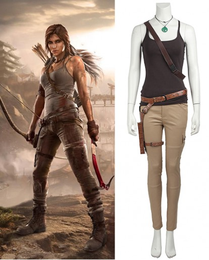 Lara Croft Tomb Raider Short Sleeve Cosplay Costume
