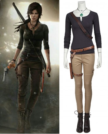 Tomb Raider Lara Croft Long Sleeve Cosplay Costume