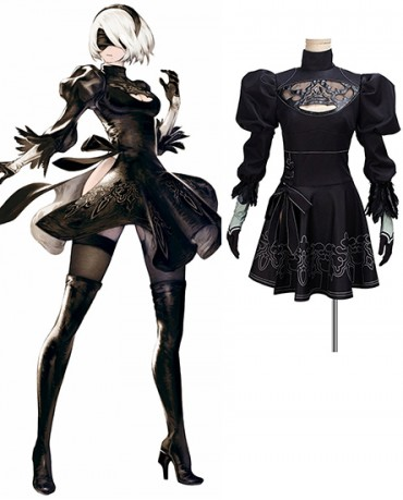 NEW NieR Automata 2b Uniforms Anime GameBlack Dress Cosplay Costume