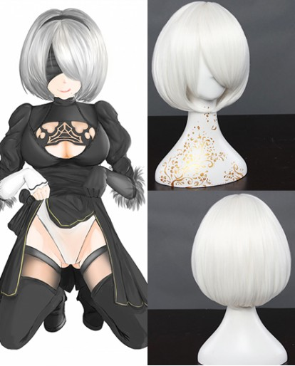 New NieR Automata 2B Short Milk White Cosplay Wigs