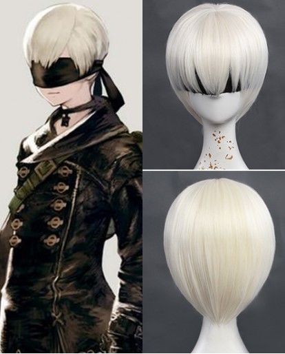 New NieR Automata 9S Short Milk White Cosplay Wigs