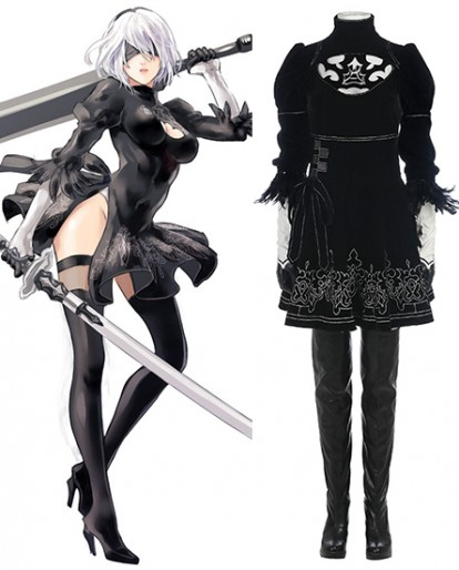 NEW NieR Automata 2b Sexy Black Dress Cosplay Costume