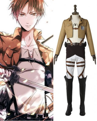 Attack on Titan Shingeki Eren Yeager Survey Corps Cosplay Costume