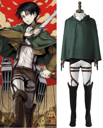 Attack on Titan Levi Ackerman Survey Corps Cosplay Costume