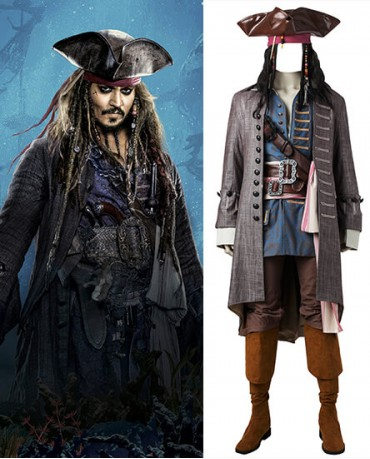 Pirates of the Caribbean: Dead Men Tell No Tales Captain Jack Sparrow Cosplay Costume