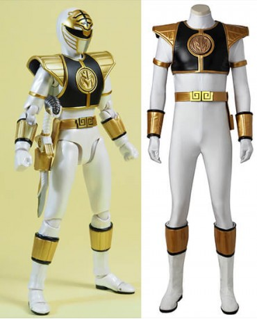 Mighty Morphin' Power Rangers Tommy Oliver White Ranger Cosplay Costume