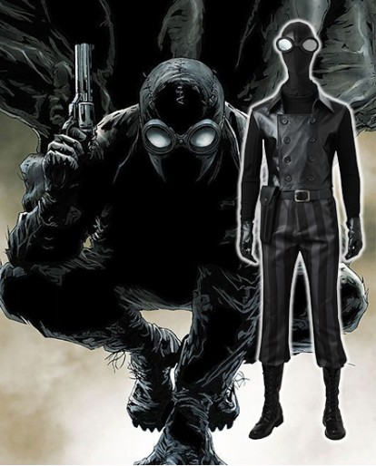 Spider Man Noir Cosplay Costume Deluxe Outfit Black Jacket Into the Spider-Verse