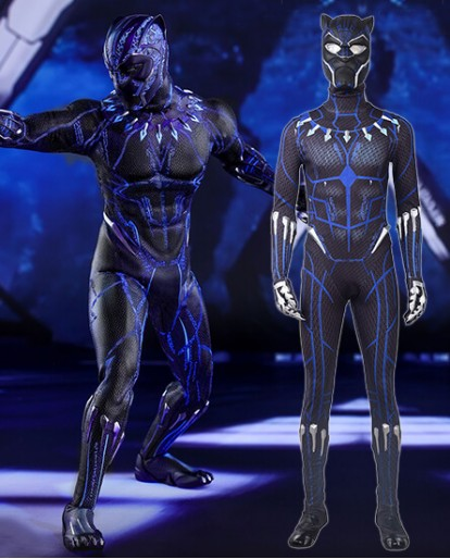 Black Panther Printed Blue Cosplay Costume