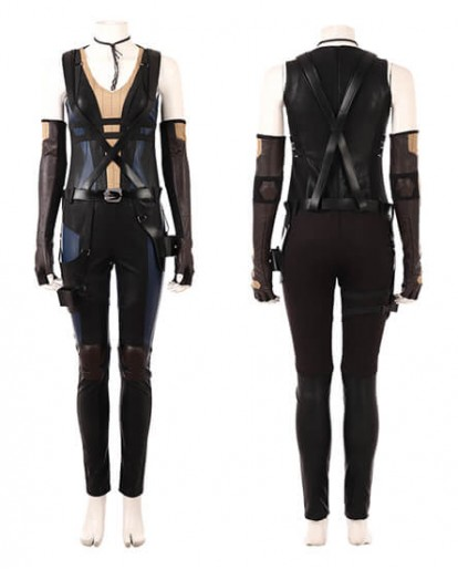 Deadpool 2 Domino Cosplay Costume Leather Full Suit outfit