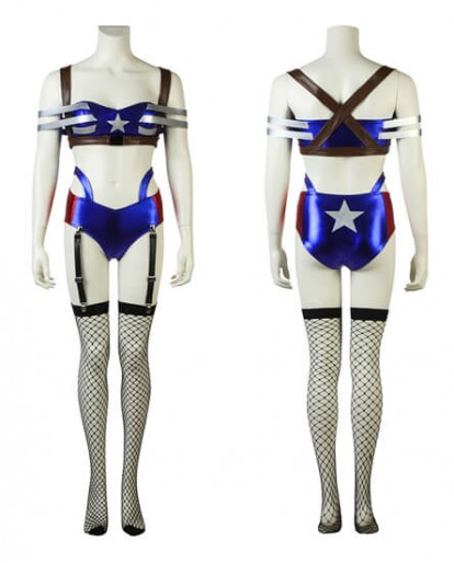 Captain America Girl Sexy Cosplay Costume Halloween Women Temptress Fancy Dress