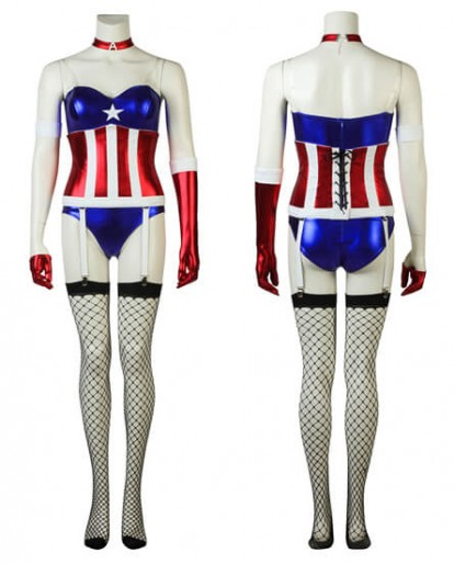 Captain America Girl Dressing Sexy Comic Con Fashion Cosplay Costume