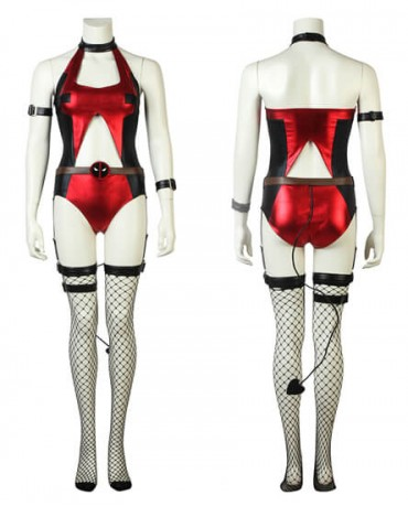 Deadpool Girl Cross Dressing Sexy Comic Con Outfit Cosplay Costume