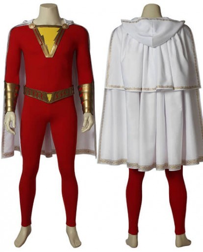 Captain Marvel Shazam William Billy Batson Cosplay Costume