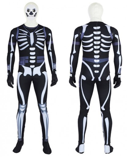 Fortnite Skull Trooper Cosplay Costume Halloween Zentai Jumpsuit