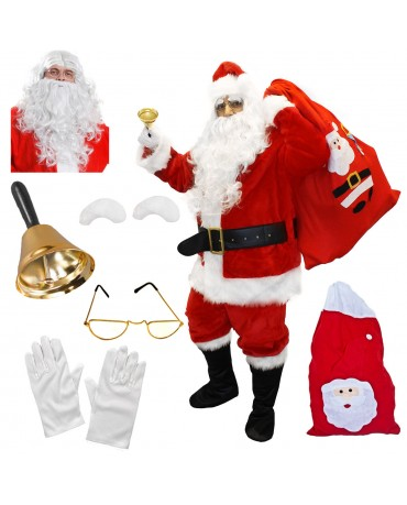 Deluxe Santa Claus Fancy Dress Costume Adult Father Christmas Santa Suit 12 Piece